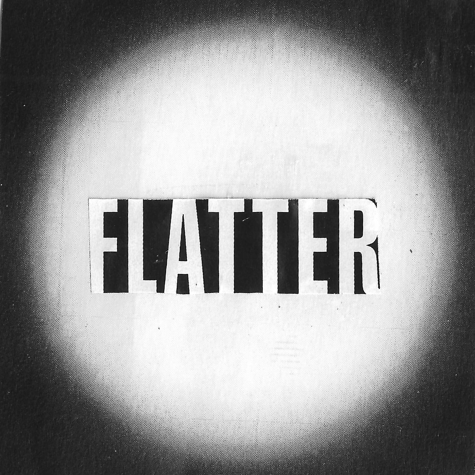 """Weiße Corona mit Wort """"Flatter"""" in der Mitte"""