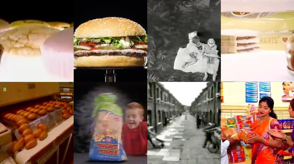 Das Bild zeigt eine digitale Foto-Collage aus verschiedenen Bildern mit dem Gegenstand Brot, unter anderem einen Hamburger und ein Kind mit einer Toast-Brot-Verpackung.