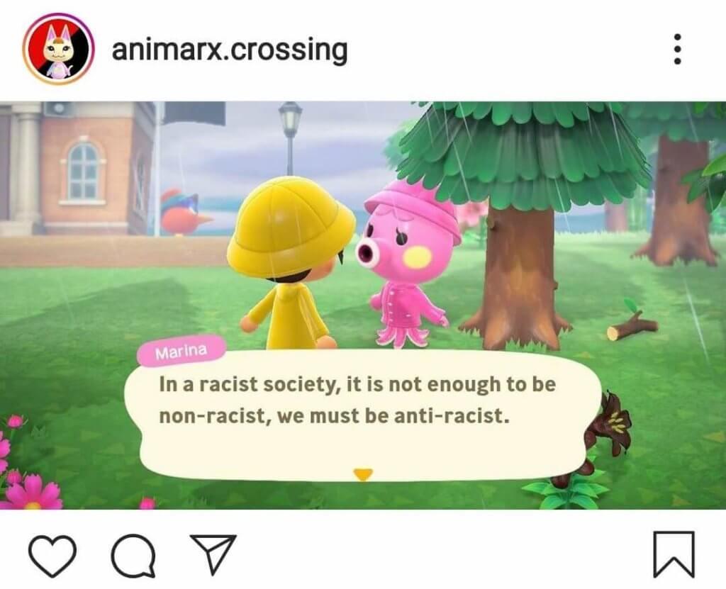 Bild des Accounts animarx.crossing. Zwei Figuren aus dem Spiel Animal Crossing unterhalten sich über Anti-Rassismus.