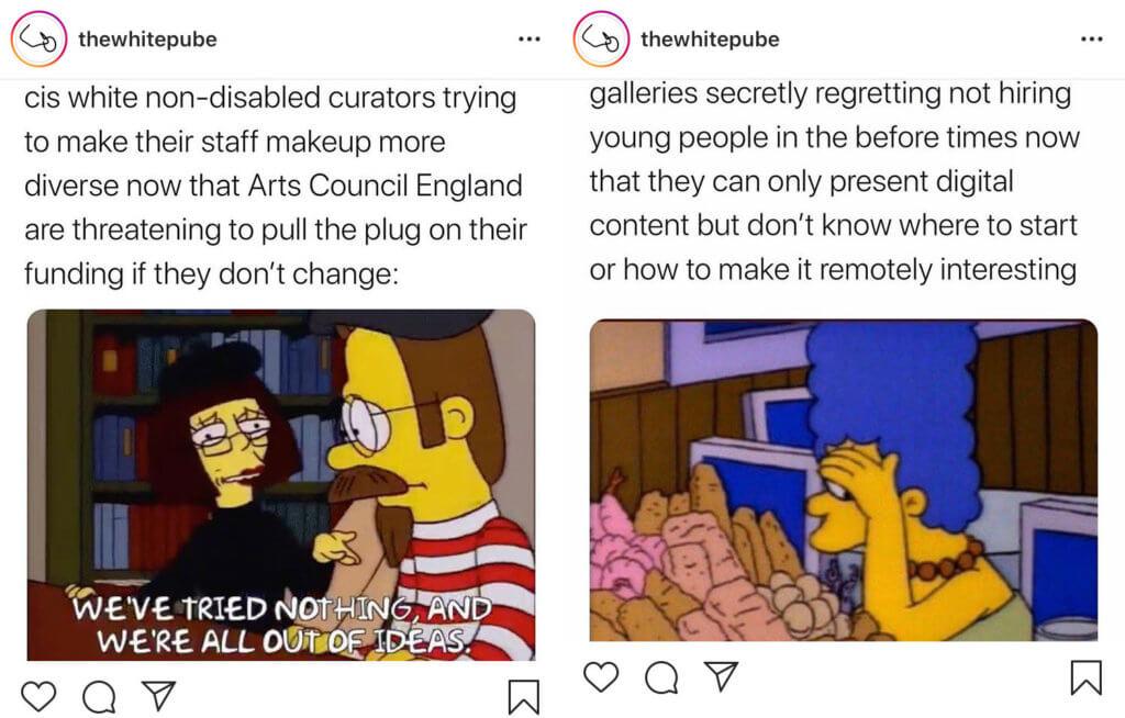 Zwei Memes auf dem Instagram-Account @thewhitepube.