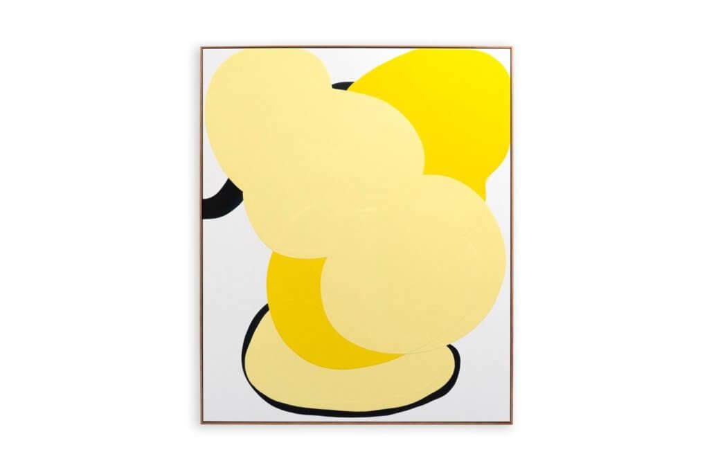 Abstrakte Malerei von Danni Pantel. Gelbe Farbflächen auf weißem Grund.