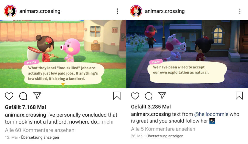 Zwei Memes des Instagram-Accounts animarx.crossing.