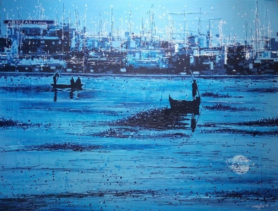 Hafenszene in Blau mit kleinen anskizzierten Booten im Vordergrund