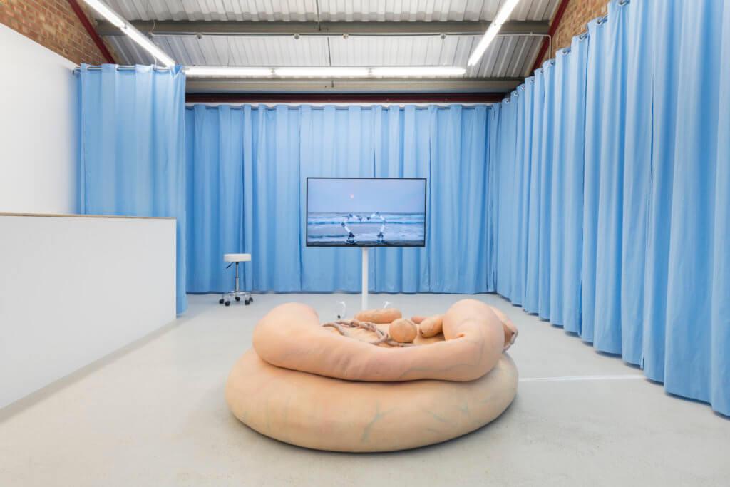 """Installationsansicht der Ausstelung """"Synthetic Seduction"""" in der Galerie Annka Kultys. Die Künstlerinnen Stine Deja und Marie Munk haben vor hellblauen Vorhängen eine Screen und eine Art fleischfarbenen Sessel installiert."""