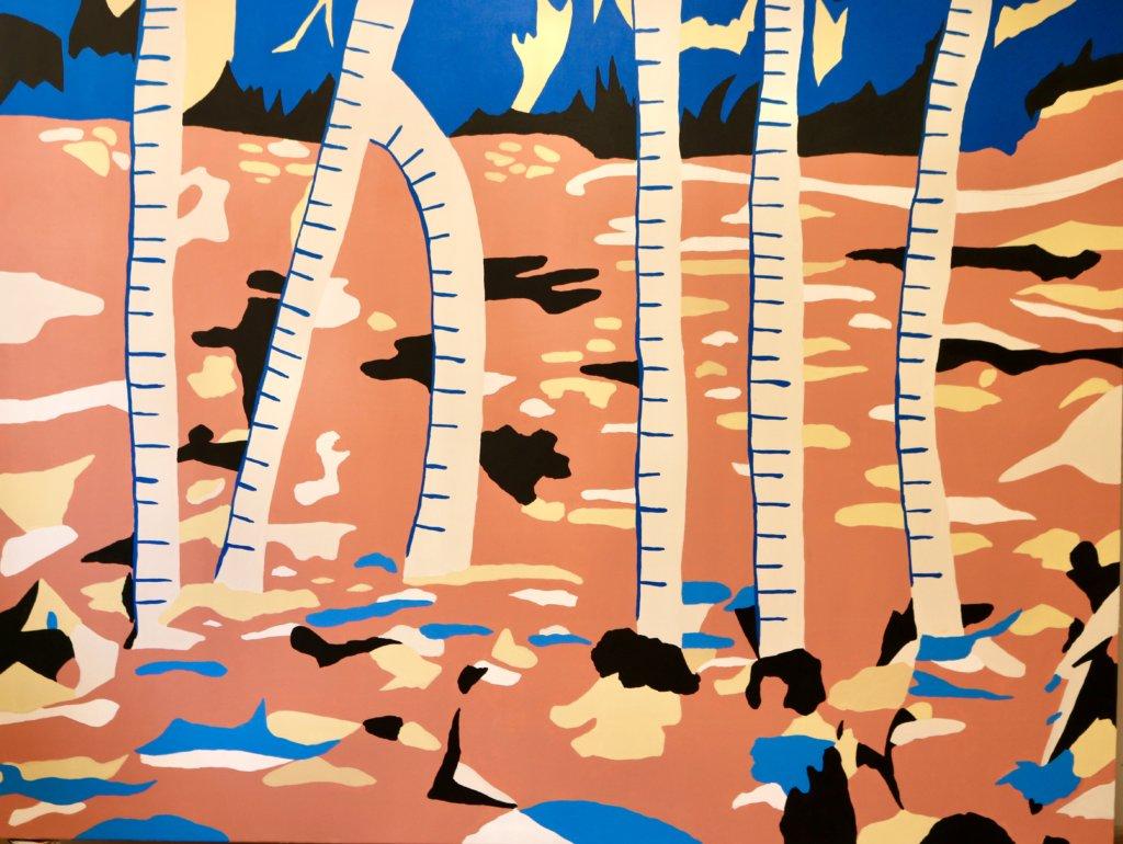 Sechs Palmen vor orangenem Hintergrund