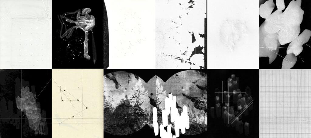 Collage aus zarten, grafischen Schwarz-Weiß-Arbeiten von Nathalie Hummer.