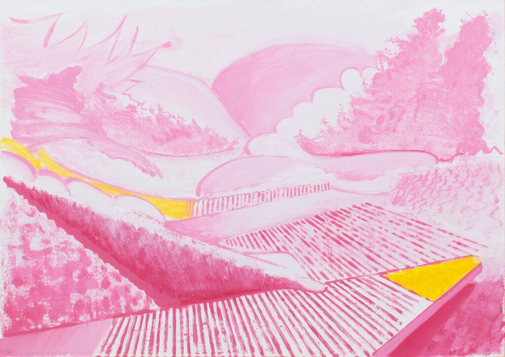 Papierarbeit von Jens Hanke, grafische Landschaft aus pinken Linien auf hellem Grund.