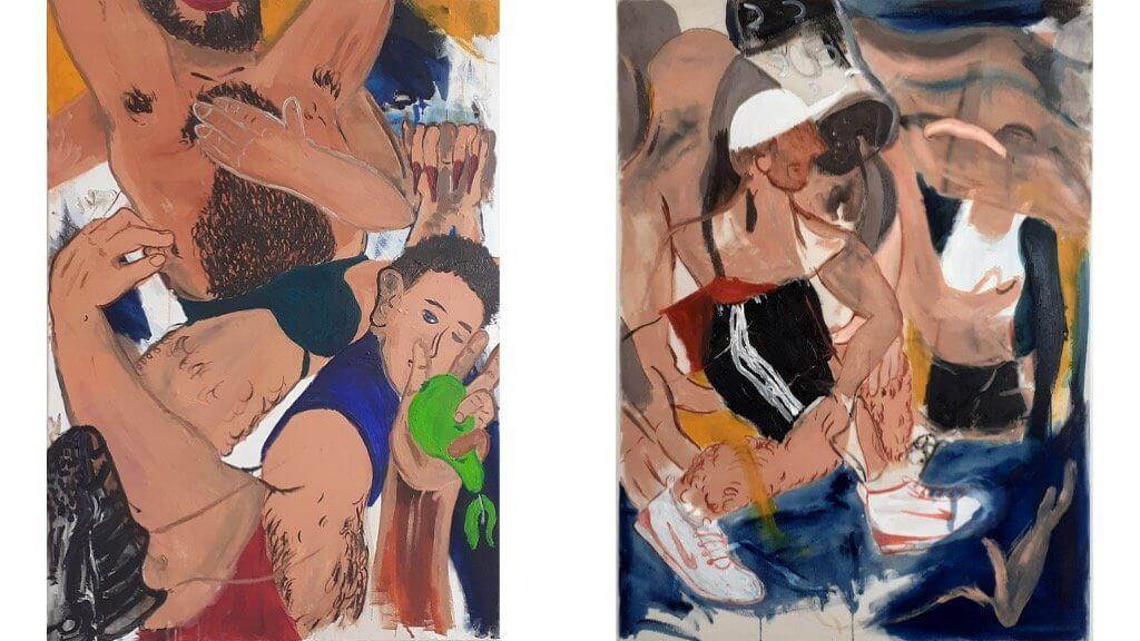 Zu sehen sind zwei Bilder des Künstlers Josip Novosel. Man kann Körper und Gesichter erkennen.