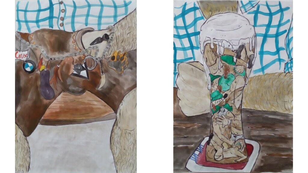 Zu sehen sind zwei Zeichnungen von Josip Novosel. Man sieht Details von bayerischen Männern, Lederhosen und ein Weißbierglas.