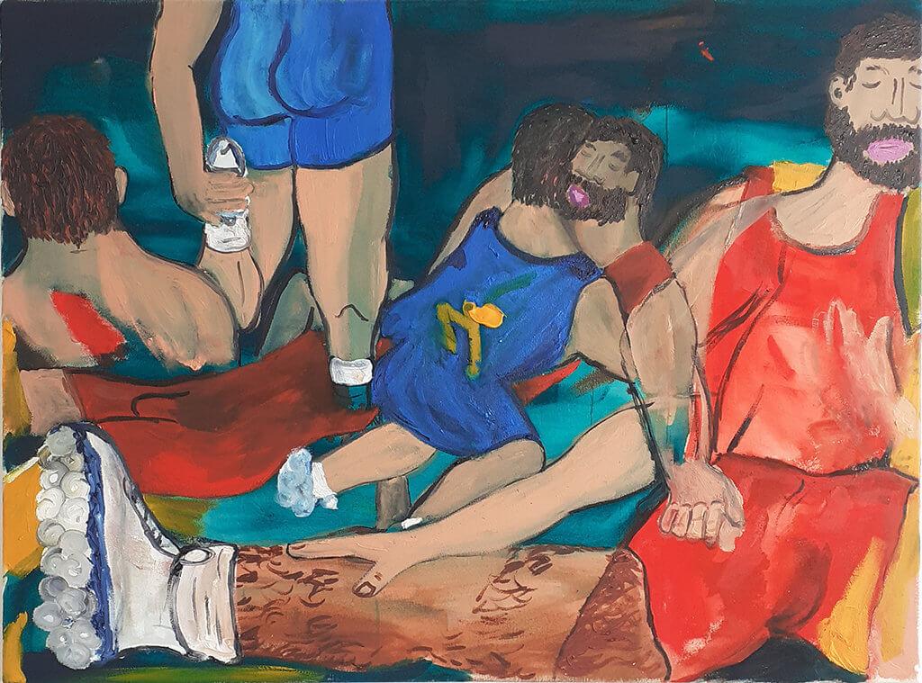 """Zu sehen ist die Malerei """"Picnic"""" von Josip Novosel. Man sieht Männer bei einem ausgelassenen Picknick."""