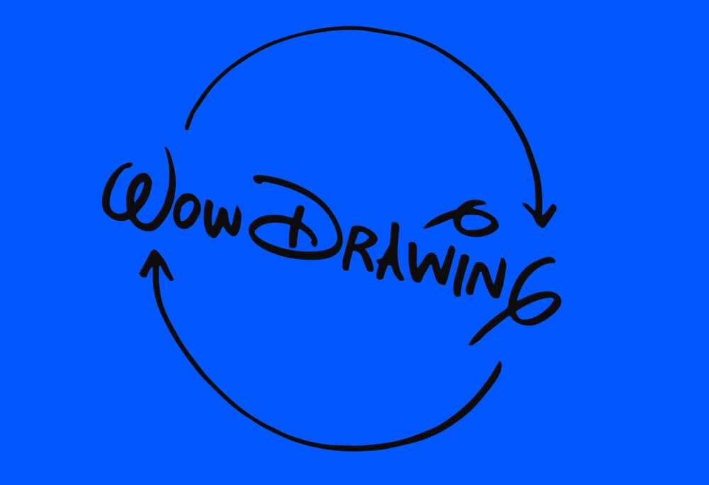 Das Logo von Drawing Wow auf blauem Hintergrund