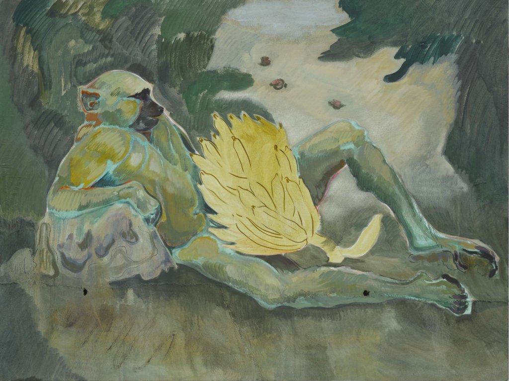 """Zu sehen ist eine Malerei von Michael Armitage, die den Titel """"Baboon"""" trägt zu sehen ist ein Affe."""