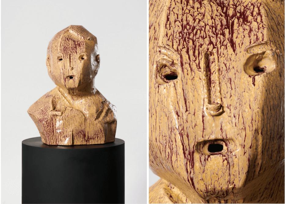 Zwei Ansichten eines beige-lila farbenen Keramikkopfes