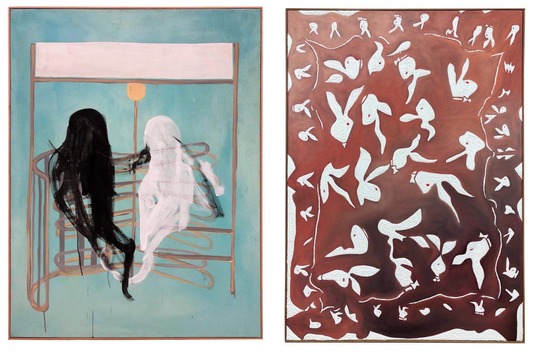 Zwei Malereien. Links: Anna Ley & Valerie von Könemann, zu sehen sind zwei Geister. Rechts: Lena Schramm, zu sehen sind Hasen mit roten Augen.
