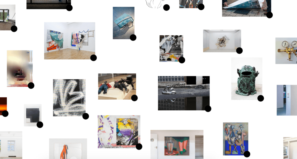 Screenshot der Website von Raum www. Zu sehen sind verschiedene Kunstwerke auf weißem Grund. Jedes einzelne ist mit einem schwarzen Punkt versehen. Klickt man den an, erhält man Informationen.