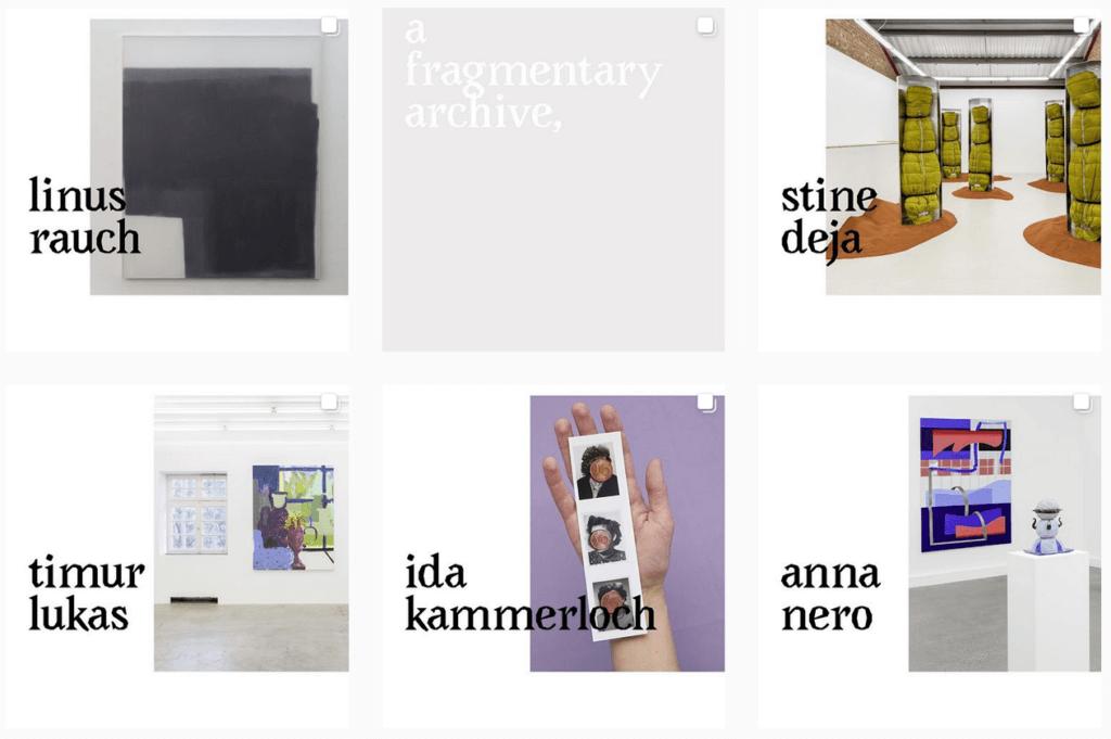Screenshot der Instagram-Seite von Raum www. Zu sehen sind verschiedene Kacheln, jede zeigt ein Kunstwerk sowie den Namen der Künstler:in.