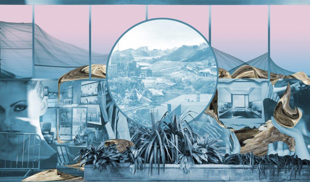 großformatige Foto-Collage in hellem Blau und Rosa, Pflanzen im Vordergrund, Model links, hügelige Landschaft im Hintergrund, Bauschutt, Innenarchitekturen