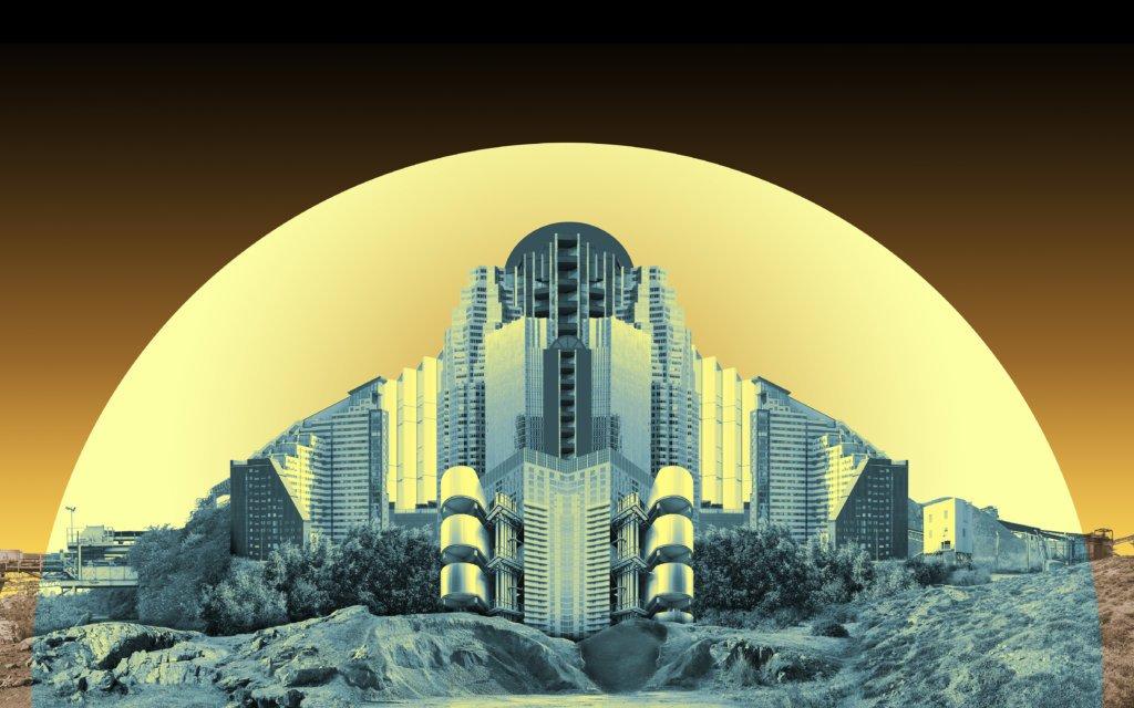 großformatige Foto-Collage von Felicity Hammond in knalligen Farben, die eine Architekturszene zeigt