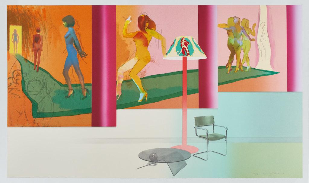 Grafik von Allen Jones, Frauen tanzen in bunter Raumarchitektur