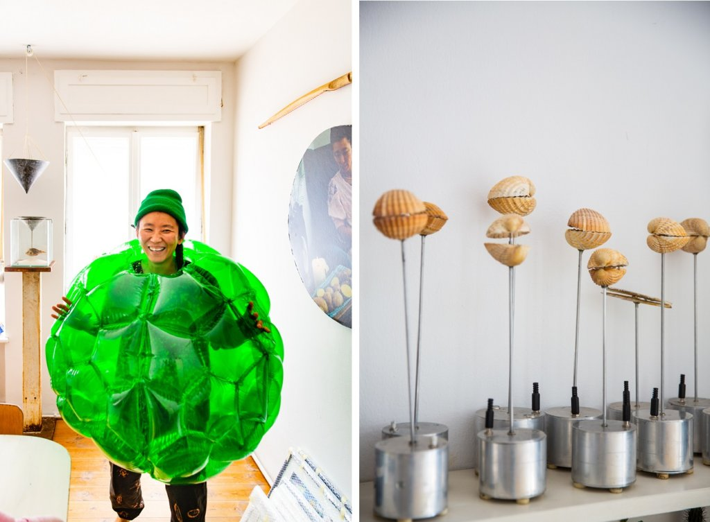 Links: Anne Duk Hee, rechts: Skulpturen.