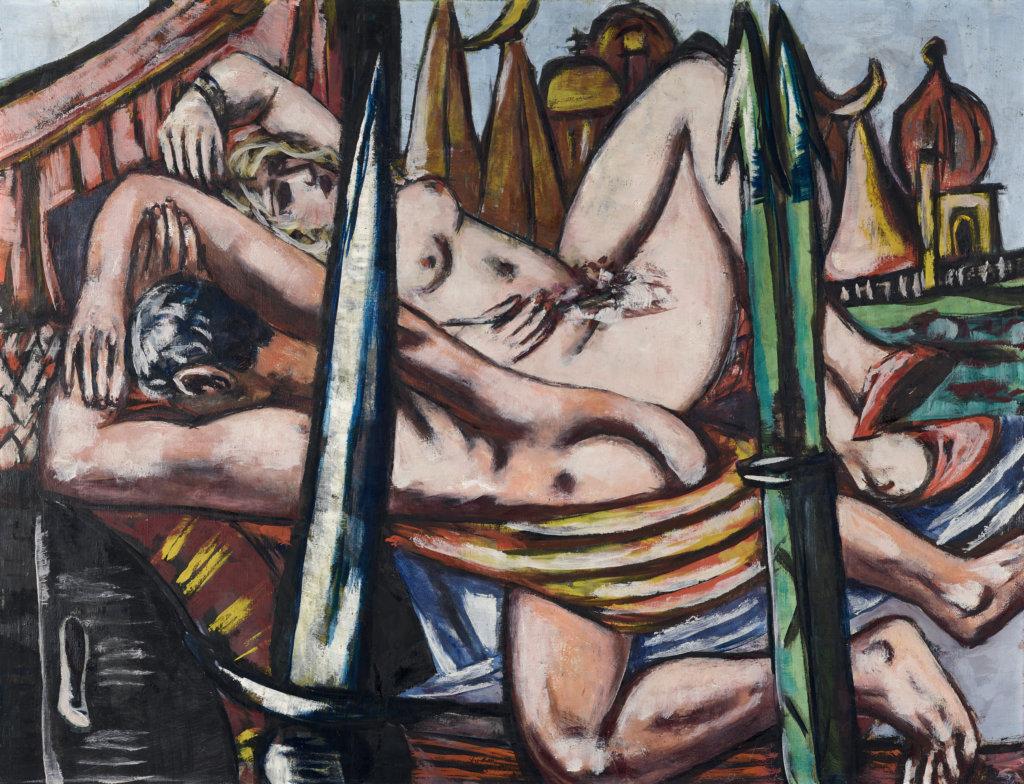 Man sieht einen nackten weiblichen und einen nackten männlichen Kärper liegend vor dem Hintergrund einer Stadt und hinter schwertartigen Spitzen.