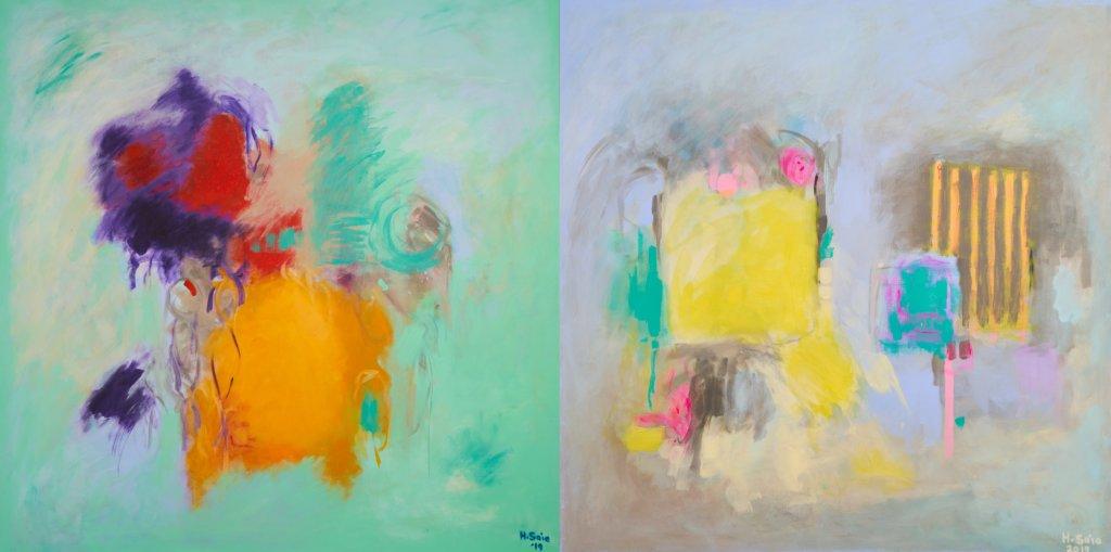 Bunte abstrakte Malereien der Künstlerin Huda Al Saie.