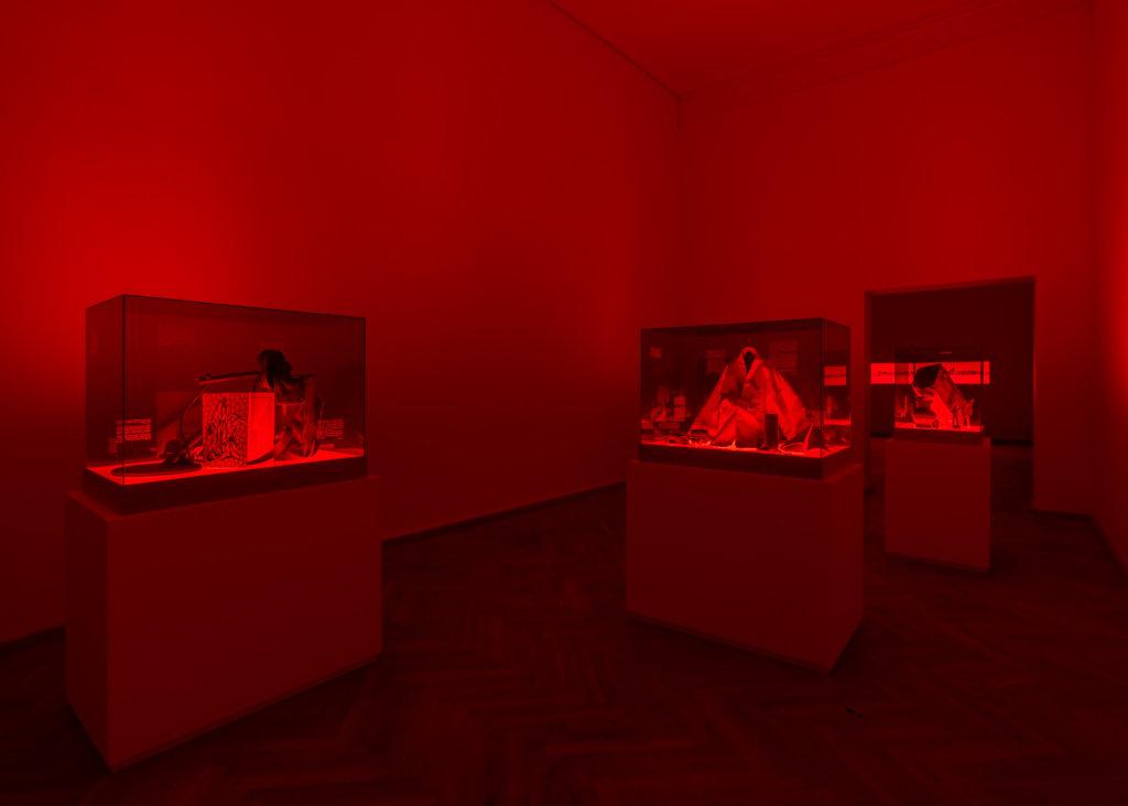 Ausstellungsansicht von Jane Jin Kaien, rote Schaukästen.