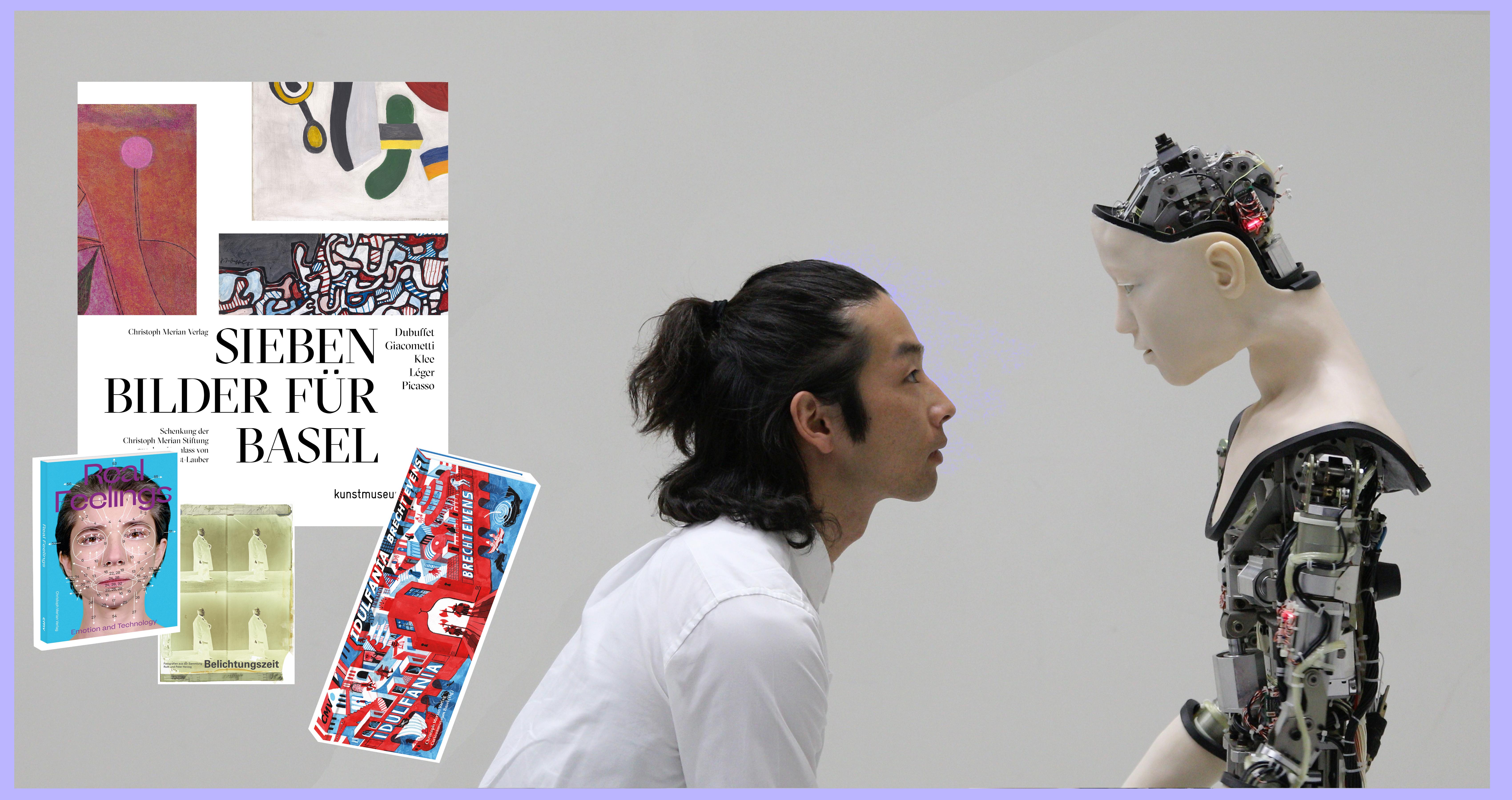 Cover verschiedener Titel des Christoph Merian Verlags. Außerdem ein Mann der mit einem Roboter interagiert.
