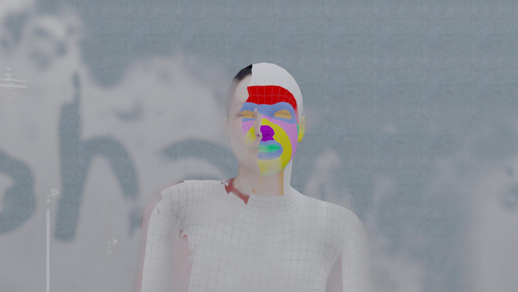 Menschliche Silhouette, Teile des Gesichts mit Farbflächen ausgefüllt.