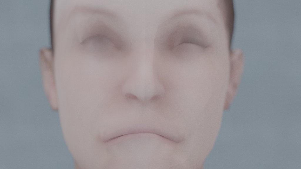 Computer-animiertes Gesicht, verzogene, unnatürlich wirkende Mimik.