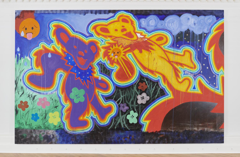 Ein Gemälde, das einen lila farbebene und einen orangenen Bären zeigt.