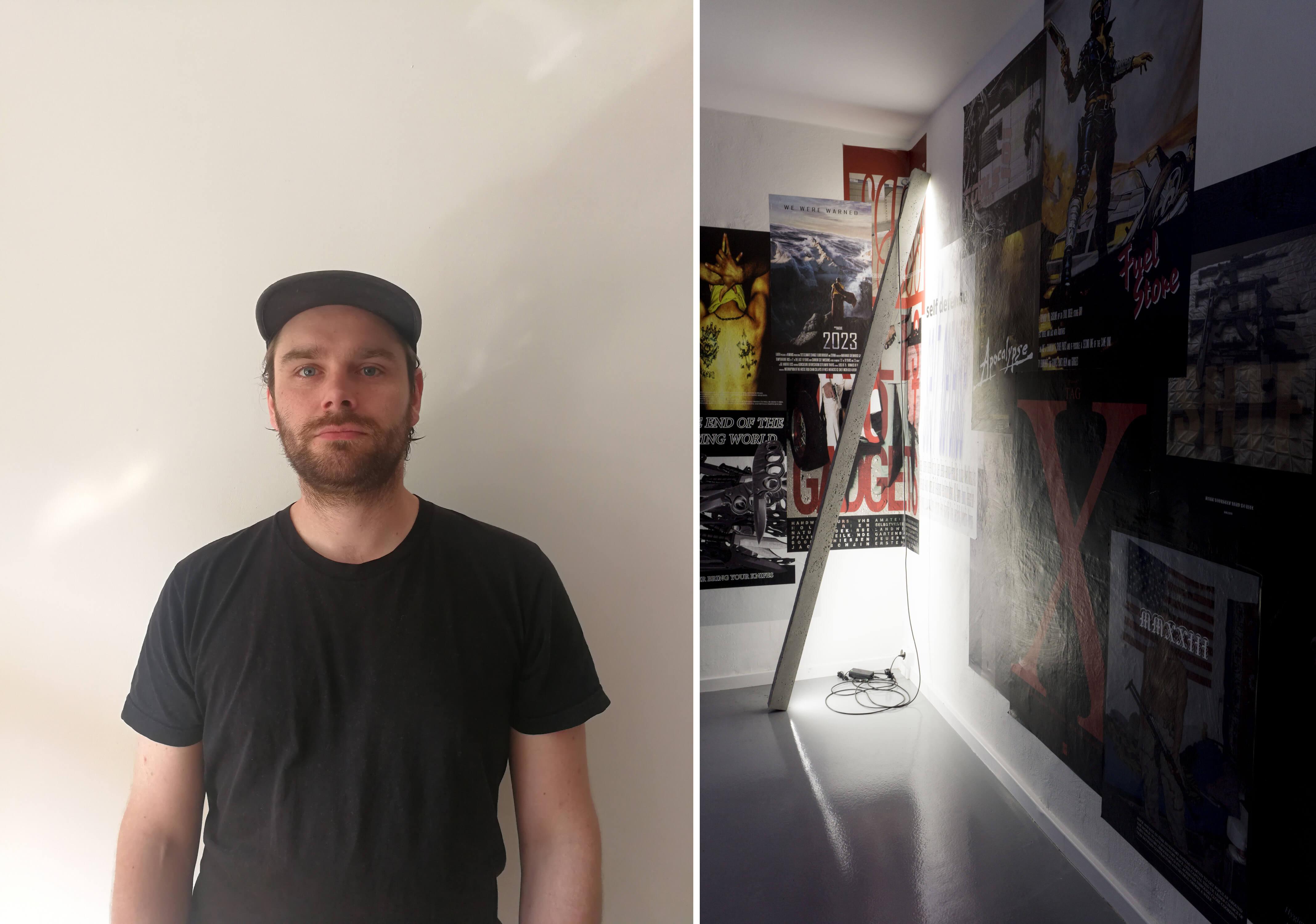 Links der Künstler Alexander Poliček, rechts Installationsansicht Alexander Poliček, Poster an der Wand.