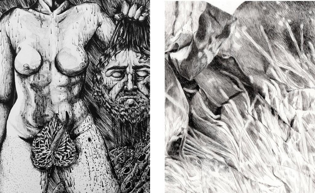 """Zwei detaillierte Schwarz-Weiß-Zeichnungen aus der Ausstellung """"Inside Draftswomen"""", Arbeiten von Rosabel Rosalind und Océane Moussé"""