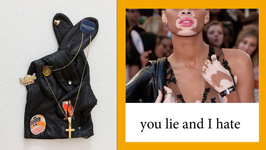"""Links: Ein Handschuh mit überkreuzten Fingern und verschiedenen Anhängern. Rechts: Ein Model, darunter der Schriftzug """"you lie and I hate""""."""