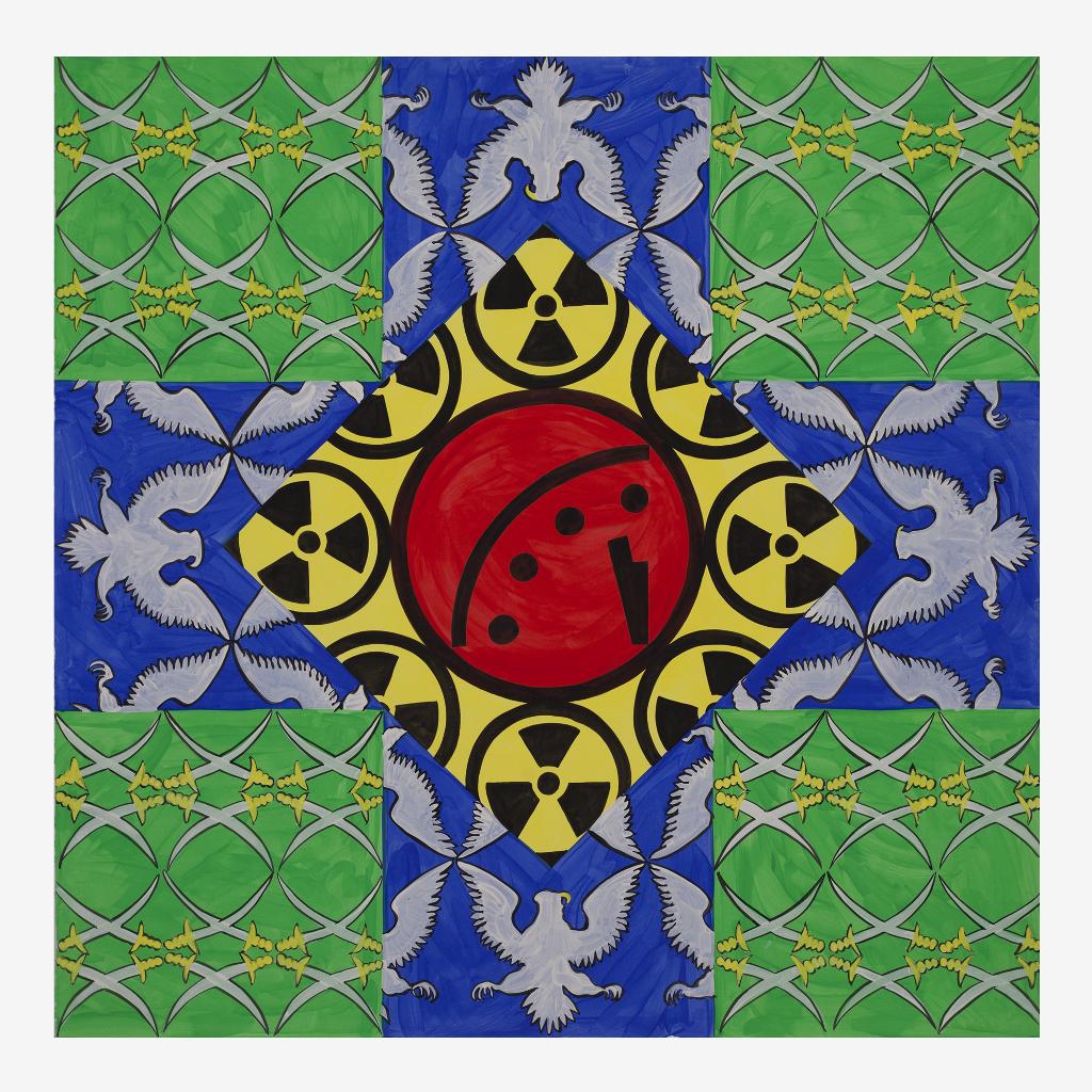 Das Bild zeigt eine Zusammenstellung aus verschiedenen Mustern. Jeweilss in den vier Ecken ist ein quadratisches Muster mit gekreuzten Säbeln auf grünem Grund zu sehen. Dazwischen finden sich blaue Felder mit einem grauen geflügeltem Adler darauf. In der Mitte ist mit der Spitze nach unten eine gelbe Fläche mit mehreren Nuklear-Zeichen und roten Kreis im Zentrum abgebildet. Die einzelnen Flächen sind mandala-artig um das Zentrum herum angeordnet.