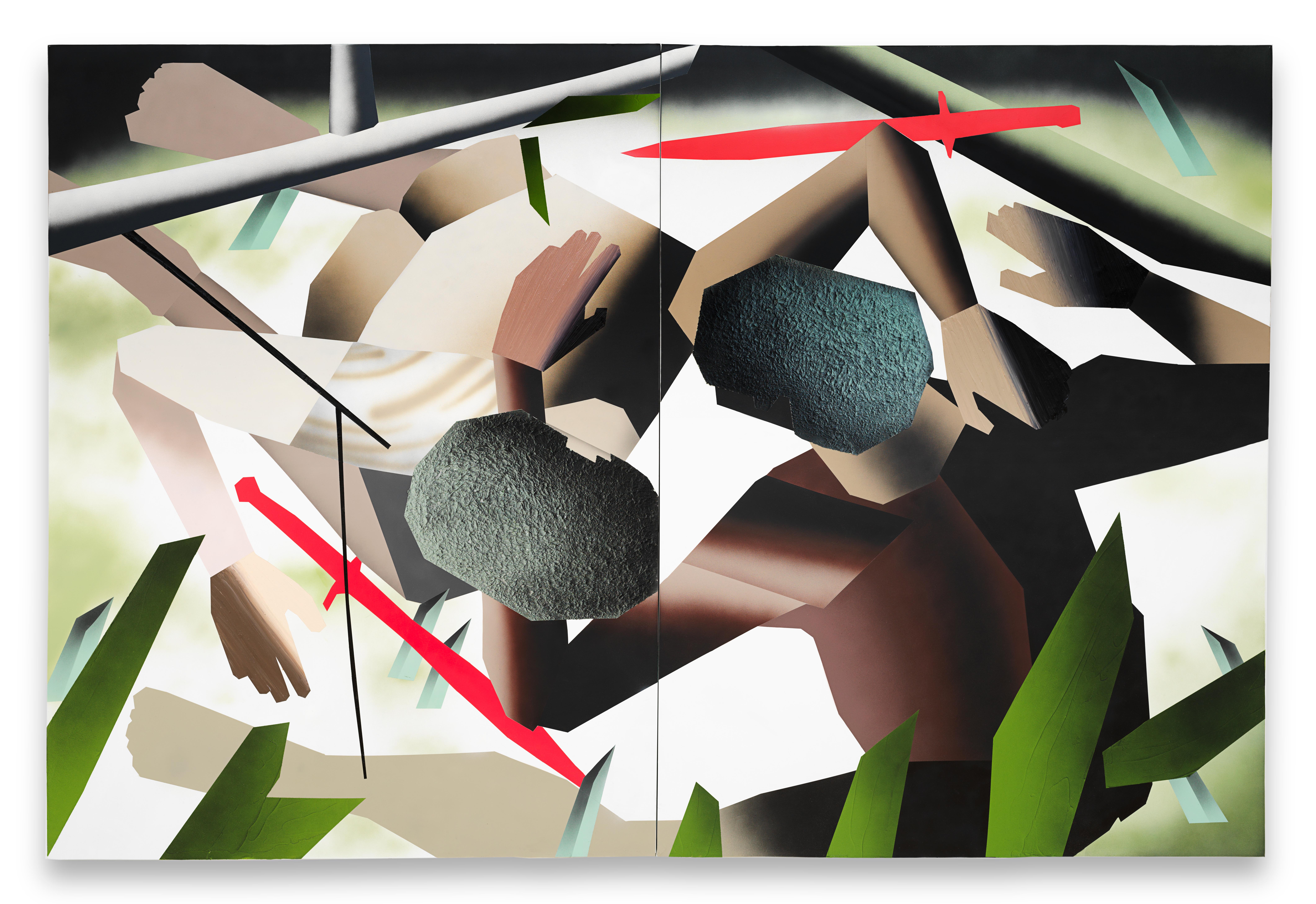 Ein Gemälde, das zwei ringende Männer zeigt