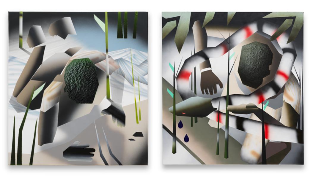 Zwei Gemälde mit nackten fragmentierten Körpern