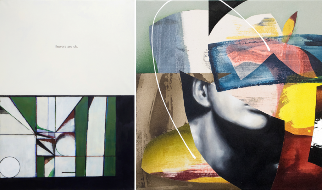 Links ein Bild von Daniel Hahn, rechts eine Fotocollage die bunt übermalt ist