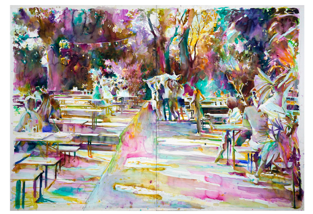 Buntes Aquarell-Bild von Martin Dammann mit einer Darstellung des Berliner Tiergartens. Menschen, die an Bierbänken sitzen, Bäume im Hintergrund.