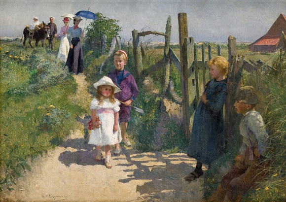 Ein Gemälde, das eine ländliche Szene zeigt. Personen aus verschiedenen Altersgruppen. Auf der rechten Bildhälfte sieht man einen Gartenzaun.
