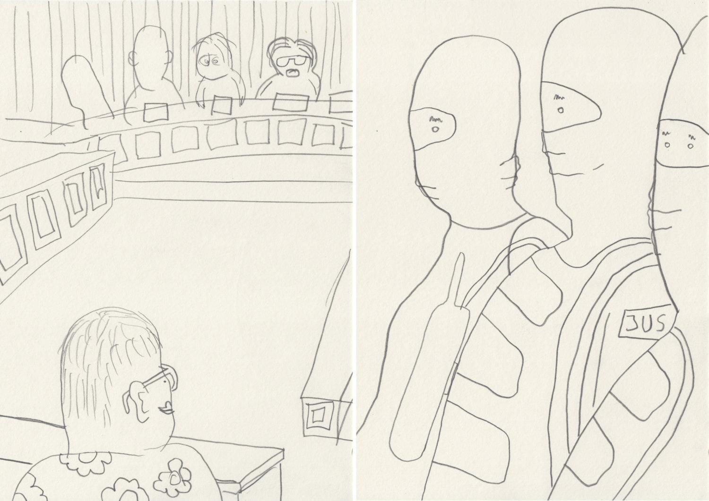 """Zwei Zeichnungen aus der Serie """"Halle Prozess"""" von Sebastian Jung."""