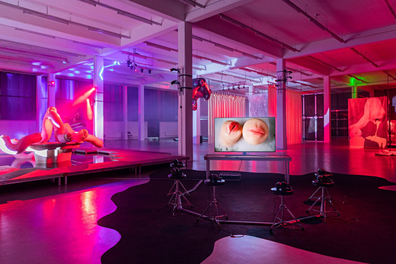 Men sieht eine Installation mit pinken und lila Lichtreflexen und einen Bildschirm, auf dem zwei Lippenpaare zu sehen sind, sowie  Objekte, die an Körperteile erinern.