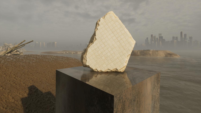 Ansicht eines 3D-Renderings von einer Keramikplatte, die auf einem Granitstein steht.