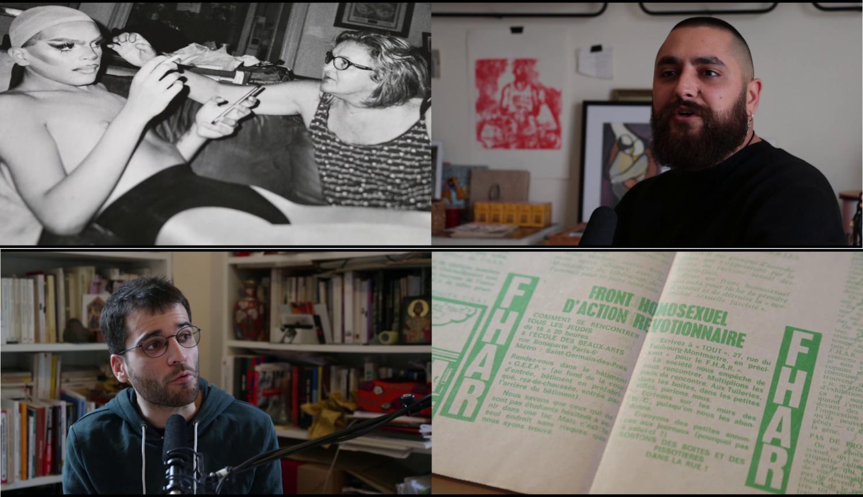 Verschiedene Stills aus einer Videoarbeit von Julian Volz. Ein historisches Foto, zwei Porträtfotos in Interviewsituationen, ein Blick in ein Buch.