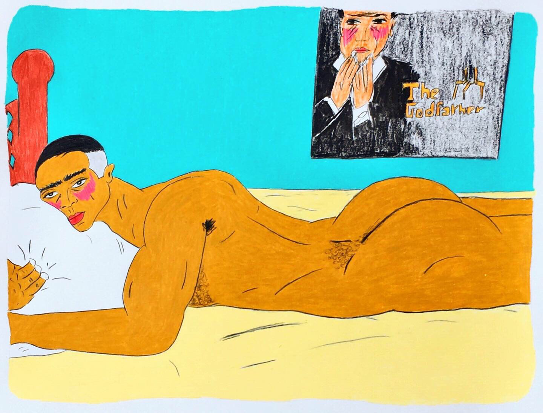 Buntstiftzeichnung von Soufiane Ababri. Ein Mann liegt nackt auf einem Bett.