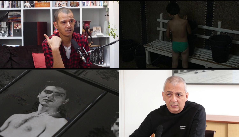 Mehrere Stills aus einer Videoarbeit von Julian Volz. Zwei Porträts in Interviewsituationen, ein altes Foto, ein Foto.