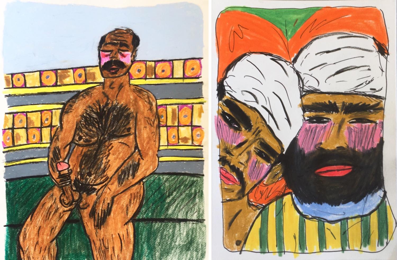 Buntstiftzeichnungen von Soufiane Ababri. Ein nackter Mann mit erigiertem Penis, zwei Männer mit dicht aneinander gedrängten Köpfen.
