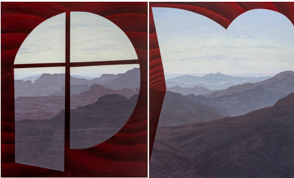 Zwei Gemälde der Künstlerin Joan Tremblay, die eine violette Landschaft mit roter Umrahmung zeigen.