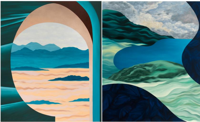 Zwei Gemälde mit verwunschenen Landschaften der Künstlerin Joan Tremblay.