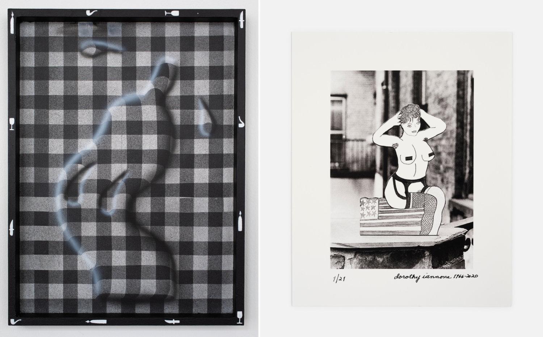 Links: Eine Art tanzende Plastikflasche auf Karo-Hintergrund von Charline Typerghein, rechts: eine Pin-Up-Girl-Collage von Dorothy Iannone.